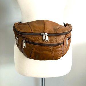 Vintage British Tan Leather Fanny Pack Waist Bag